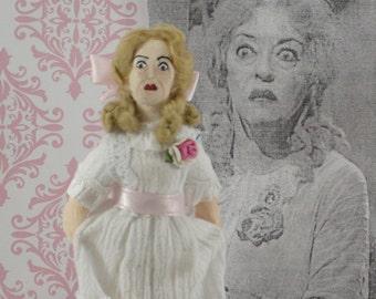 Bette Davis as Baby Jane-  Evil Sister- Creepy Movie- Fan Art- Miniature Handmade- Celebrity Doll