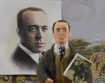 Writer Doll Edgar Rice Burroughs Author of Tarzan of the Apes Literary Theme Art Miniature