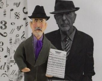 Leonard Cohen, Fan Art Miniature, Musician Character, Song Writer