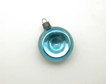 Vintage Christmas Glass Ornament Blue Indent MCM