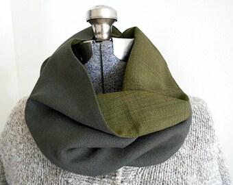SALE Olive plaid wool cowl scarf, tube neckwarmer snood - reversible - eco vintage fabrics