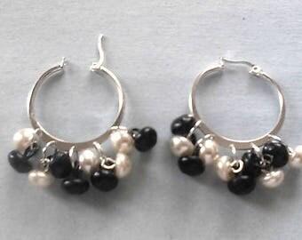 Hoop n dangle vintage button n pearl earrings