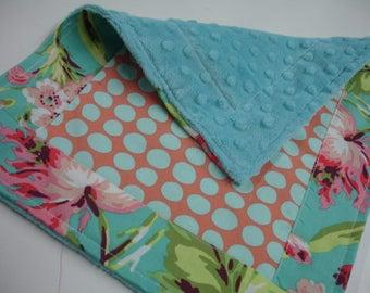 Bliss Bouquet with Tangerine Sun Spots Minky Baby Burp Cloth 11 x 13 READY TO SHIP