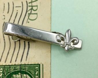 Vintage Men's Tie Clip, Fleur Di Lis, Gift for Him, Men's Tie Accessorie