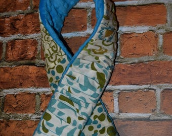 deluxe Plush Blue / Green / Ivory  mixed prints ruffled Camera Strap Cover with minky backing