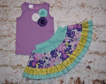 Girls 2 piece set TANK top & twirly skirt purple / aqua / lime  shabby flowers sizes 12 mth - 18mth - 2T - 3T - 5T * REaDY to SHIP