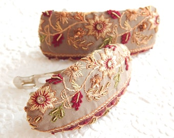 Taupe burgundy embroidered beaded hair barrette, thick hair clip, ponytail holder, BACK IN STOCK