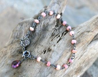 Pink Peruvian Opal Gemstone Bracelet, Oxidized Sterling Silver Bracelet, Pink Opal Wire Wrapped, Kunzite Gemstone, Pink Gemstone Bracelet