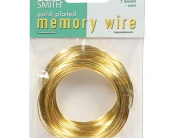 """Beadsmith Gold Plated Memory Wire 2"""" Diameter, 1 Ounce"""