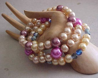 Sale~~Pearls~MIX & MATCH STRETCH Bracelets~3 Bracelets~Glass Pearls n' Beads~Pretty Summer Colors~Wear 1, 2, or All 3 At Once~Style~Fashion
