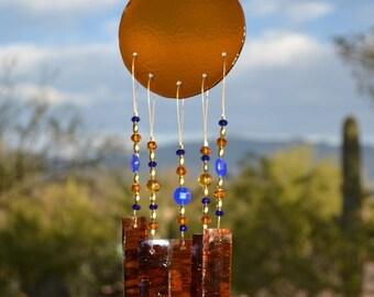 SALE SALE SALE Windchime Amber Glass with Cobalt Blue
