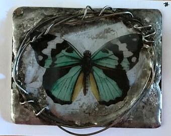 Handmade Art Soldered Metal Bezel.....butterfly #3