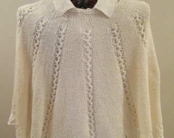 Elegance in Ivory Lacy Hand-knit Poncho
