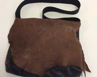 Raw Distressed Handmade Leather Messenger Crossbody  Bag