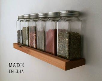 Recycled Wood Spice Rack, Modern, Low Profile, With or Without Jars
