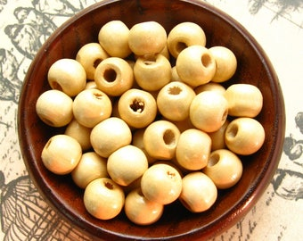 9mm Natural Wooden Beads - Over 100 - Glossy Natural Wood Color / Light Wood Beads, Lead Free (WBD0139)