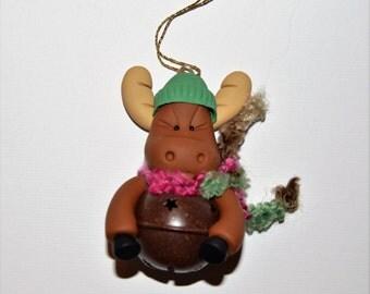Moose Jingle Bell Polymer Clay Christmas Ornament