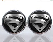 20% OFF - Round Glass Tile Cuff Links - Classic Man of Steel CIR108
