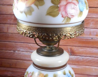 Antique Brass Gone with the Wind style Parlor Lamp with Light Up Base,Hand Painted Hurricane Lamp,Brass Lamp,Hand Painted Roses