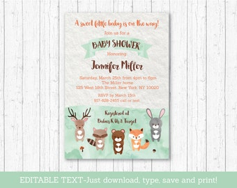 Woodland Baby Shower Invitation / Woodland Baby Shower Invite / Watercolor Woodland / Editable PDF INSTANT DOWNLOAD A156