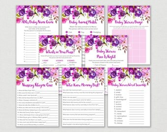 Purple Floral Baby Shower Games Package / Floral Baby Shower / Watercolor Floral / 8 Printable Games / INSTANT DOWNLOAD A167