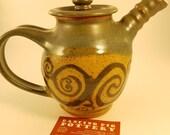 Arabesque Teapot - Nature Lovers Tea Set - Tea Valentines Gift - Vines Green Teapot - Fairy Tea Party - 4 Cup Pot - Ceramic Teapot -Handmade