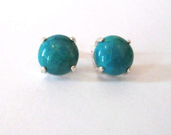 Chrysocolla Gemstone Sterling Silver Post Earrings, Turquoise Blue, Teal Blue Green Stone 9mm Cabochon Gemstone Studs
