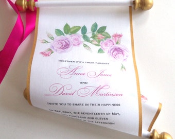 Garden wedding invitation suite with fabric scroll, box and bellyband, reply cards, set of 100