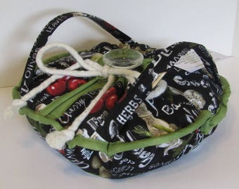 Casserole Carrier , Round or Square Dish , Vegetables on Black, Olive Oil , Italian , Food Carrier , Insulated , Bridal Gift