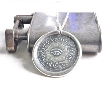 Masonic eye wax seal necklace - all seeing eye wax seal necklace - may it watch over you - eye of Providence - silver wax seal jewelry