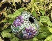Ceramic Birdhouse - Floral Garden Art - Handcrafted Pottery Gift for Gardener - Stoneware Bird House