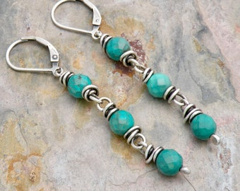 Genuine Turquoise Earrings, December Birthstone, Turquoise Dangle Earrings, Sterling Silver Wire Wrap, Lever Back Ear Wires, #4743