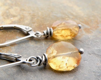 Citrine Earrings, November Birthstone Earrings, Golden Yellow Gemstone, Citrine Jewelry, Lever Back Ear Wires, Sterling Silver, #4701
