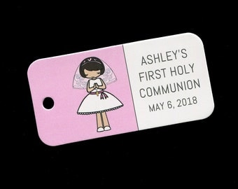 First Communion Favor Tags - Personalized - Girl - Gift Tags - Personalized Favor Tags - Girls Communion Tags - Pink - Brunette Short Hair
