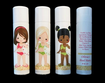 Pool Party Favors - Lip Balm - Lip Balm Favors - Personalized - Vanilla Lip Balm - Pink - Girl's Party Favors - Thank You Gift