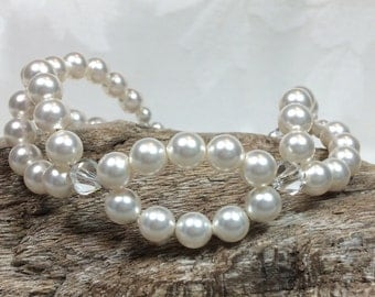 Swarovski Pearl, Crystal and Sterling Silver Bracelet