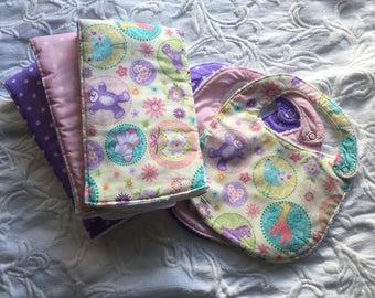 Baby Girl Burp Cloth and Bib Set