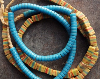 Nifty Turquoise Bohemian Glass and Brick-shaped Powder Glass Beads from the African Trade