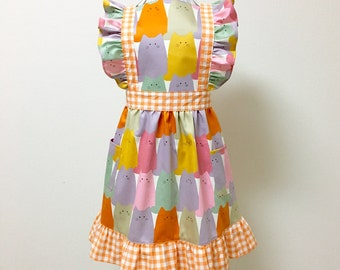 Apron / Lolita Apron / Dress Apron - Colorful Cat --- Orange