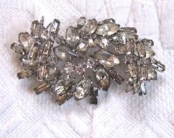 Rhinestone Pin . three dimensional rhinestone brooch . large rhinestone brooch
