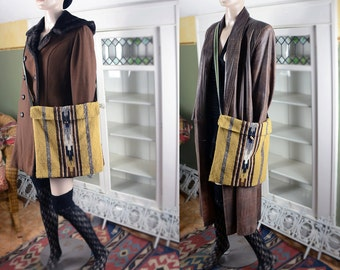 Vintage 70's Guatemalan wool crossbody bag, boho crossbody bag, kilim bag, boho tote bag, vintage carpet bag, hippie festival bag, woven bag