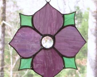 Stained Glass Suncatcher, Victorian Flower in Purple, Green, Clear Jewel