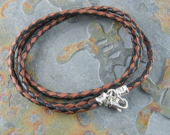 Triple Wrapped Leather Bracelet,Greek Bolo Leather with Sterling Silver Findings