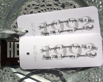 25th Anniversary Favors - Anniversary Party Favors - Silver Anniversary -  Anniversary Candy Bar Wrappers - 25th Anniversary Party