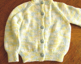 newborn hand knit sweater, 0 - 6 mos size, Blue yellow sweater, cardigan, bootie button front