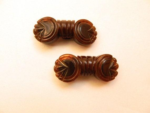 Pair of Vintage Brown Bakelite Art Deco Shoe Clips