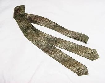 Vintage 50s Skinny Mens Neck Tie Gold Check Tapestry Diagonal Shade