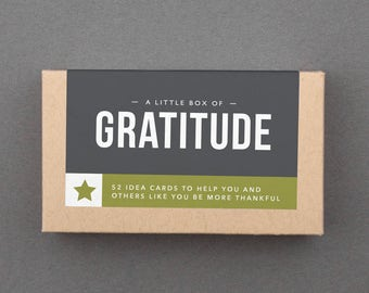 "Gratitude Jar, Journal Cards. Grateful, Thank You. Thanksgiving Table Decor, Game. Fun Thanks, Appreciation Gift. ""Box of Gratitude"" (L5GRA)"
