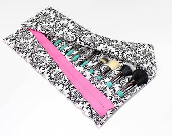 BEST SELLER - Black and White Damask Large Makeup Brush Roll Holder Organizer with Hot Pink Ribbon - In Stock Ready To Ship
