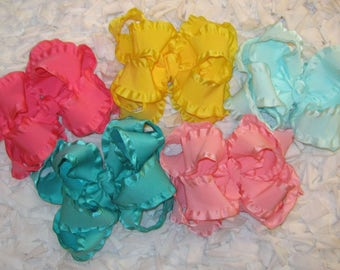Custom Package of 5 Large Double Layer Satin Double Ruffle Boutique Hair Bows - Wide Variety of Available Colors